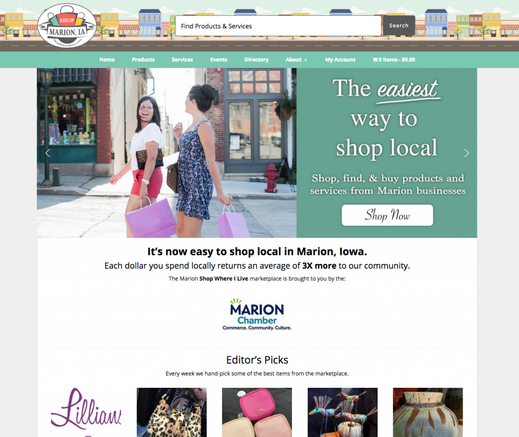 Picture of Marion marketplace home page.